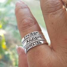 personalized stackable rings sterling silver stacking rings set of 5 rings personalized name
