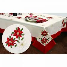 creative home ideas embroidered holiday poinsettia 70 x 104 inch