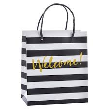 black and white striped gift bags 12ct classic black and white striped welcome gift bag target