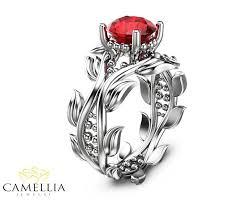 ruby wedding rings leaf ring 14k white gold ruby ring ruby engagement ring ruby ring