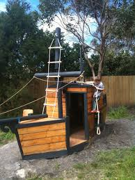 Pirate Ship Backyard Playset by More Manageable But Still Cool Ship Themed Cubby House