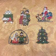 vintage german pewter hand painted christmas ornament set of 5