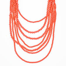 multi layered bead necklace images Multi strand coral bead necklace long layered necklace by jpg