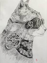 steampunk cat by albinosnowbear on deviantart