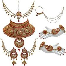 wedding necklace set red images Buy lucky jewellery bridal golden red color alloy gold plated jpg