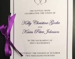catholic mass wedding program catholic ceremony etsy
