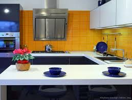blue and yellow kitchen ideas kitchen idea of the day modern gray kitchen with orange walls
