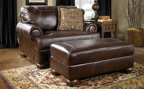 ottomans leather chair and a half with ottoman intended for