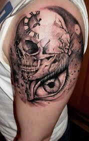 best skull tattoos for clocks and tatting