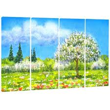 designart four seasons tree floral 4 piece painting print on