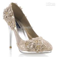 Wedding Shoes India Wedding Shoes For Bride High Heel With Lace Flowers Rhinestone