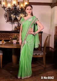 pista color lycra saree with heavy resam work on border buy