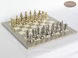 Metal Chess Set by French Heritage Chessmen With Spanish Lacquered Chess Board Grey