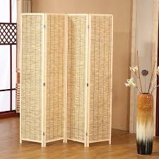 folding room dividers amazon com decorative 4 panel wood u0026 bamboo folding room divider
