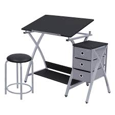 Studio Drafting Table by Studio Designs Comet Center With Stool Silver Black 13325