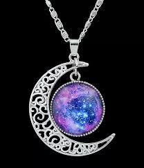 purple gemstone necklace images Purple gemstone silver hollow moon necklacefor women romwe webp