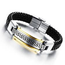 leather rope bracelet images Genuine leather rope bracelet black gold stainless steel men jpg