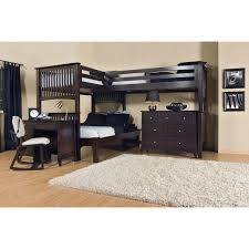 Hardwood Bunk Bed Black Wooden Bunk Bed With White Black Bed Sheet Combined With