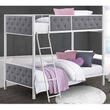 Upholstered Twin Beds Chesterfield Upholstered Twin Over Twin Metal Bunk Bed White