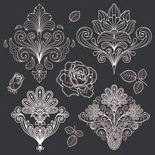 paisley pattern vector set of black and white paisley pattern vector graphics 02 vector
