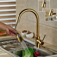 gold plate single hole pull out faucet for kitchen basin