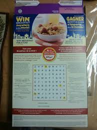 box cours de cuisine there is a multilingual word search on the back of my box of raisin