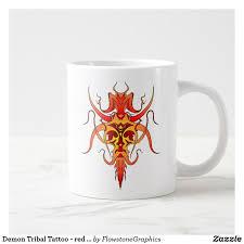 demon tribal tattoo red and yellow large coffee mug plates