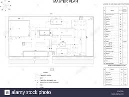 plan industrial area buildings lawns fence and lists stock