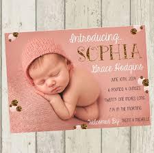 baby birth announcement pink gold glitter newborn