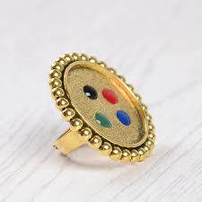 aliexpress com buy gold nail art paint palette ring manicure