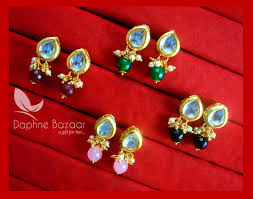 Best Gift For Women Super Saver Four Pairs Of Leaf Kundan Tops For Women Best Gift