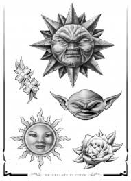 sun moon flash tatto sets pictures design