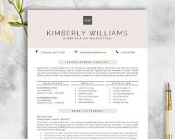 Resume Template Cv Template For by Resume Template Etsy