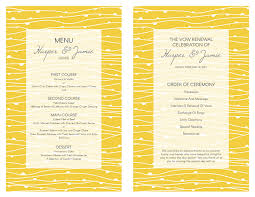 vow renewal program templates free vow renewal invitation yellow waves and gray theme
