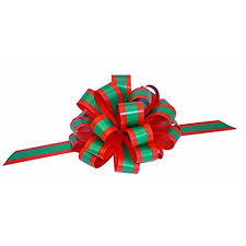 christmas ribbons and bows gold white green blue pull bows for large