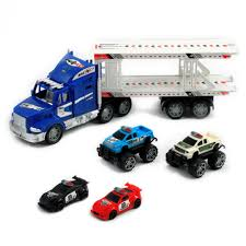 car carrier truck police auto hauler truck toy boys law enforcement toys