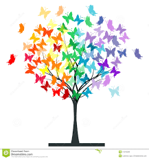 butterflies rainbow tree stock illustration illustration of plant