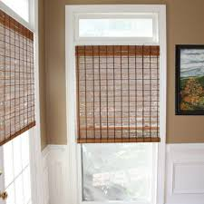 stylish woven wood shades brown color light filtering and energy