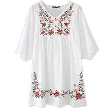 ashir aley white mexican embroidered peasant dressy tops blouses