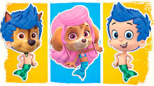 paw patrol as bubble guppies coloring pages fun coloring book