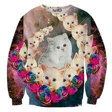 cat sweater sweaters 3d print cosmic cats gradation cats galaxy