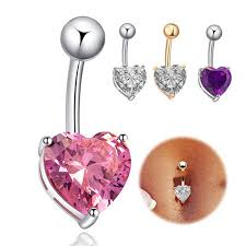 silver piercing rings images Fashion love heart belly button rings bar gold silver plated jpeg