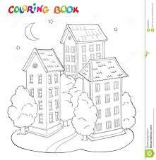 coloring page book for kids house with trees and moon stock