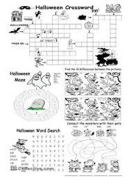 halloween crossword p e classes pinterest english