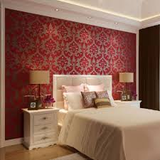 bedroom damask wall idea for bedroom with double beds and