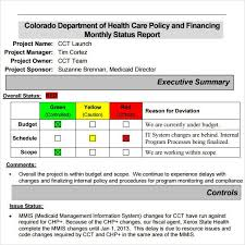 Monthly It Report Template For Management by Project Status Report Template 8 Free Documents In Pdf
