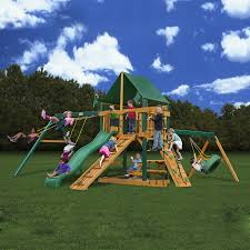 Playsets Outdoor Shop Gorilla Playsets Frontier Wood Playset With Swings At Lowes Com