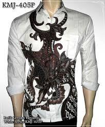desain baju batik pria 2014 batik modern lengan panjang putih white series kmj 405p kemeja