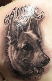 german shepherd dog tattoo on back