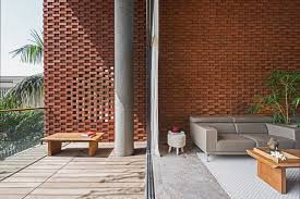 Curtain Wall House Plan Rippling Red Brick Facade Shades House In Surat By Design Work Group